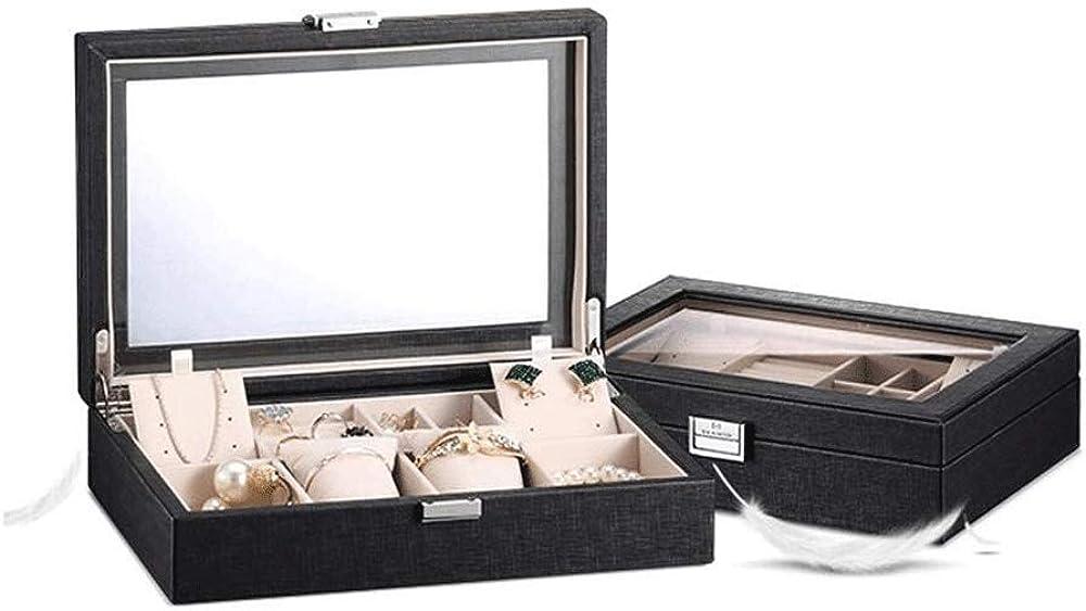 POST Guarda stoccaggio box- Slot Guarda Box Watch caso di esposizione dell\'organizzatore di immagazzinaggio Grande Vetro Top Black