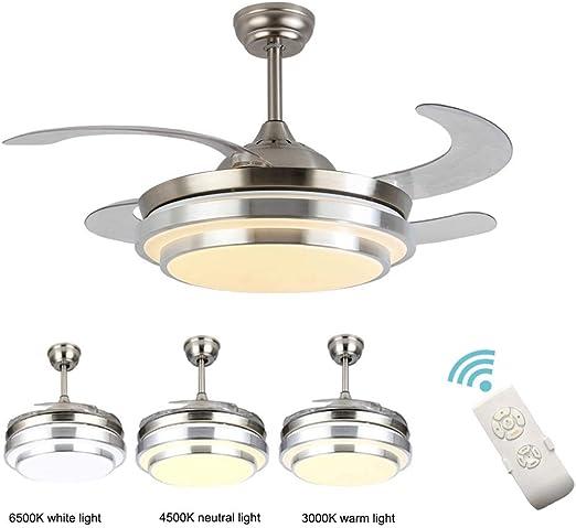 Ventiladores para el Techo con Lámpara, 36W Modern Creative Invisible Alas Plegables LED Araña de Luces con Control Remoto Regulable Ultra Silencioso Ventilador de Aluminio Luz de Techo: Amazon.es: Hogar