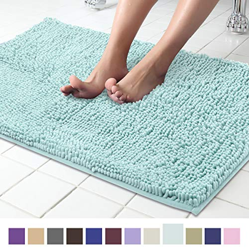 Spa Blue Rug - ITSOFT Non Slip Shaggy Chenille Soft Microfibers Bathroom Rug with Water Absorbent, Machine Washable, 21 x 34 Inches Spa Blue