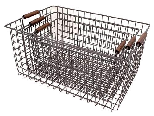 KeKaBox Set of 3 Metal Wire Nesting Storage Baskets with Wood Handles by KeKaBox (Image #3)