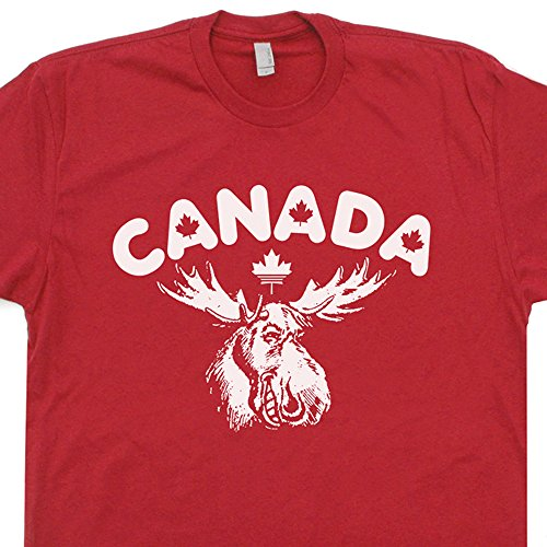 (Youth S - Canada T Shirt Maple Leaf Logo Tee Vintage Tshirt Canadian Flag Cool Moose Graphic White )