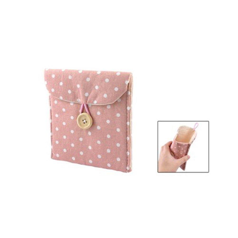 /Bolsa de almacenaje Sanitaria Toalla Sanitaria Botton Pochette peque/ño Saco Uso para Pieza de Moneda Maquillaje Hembra Organizador de Material Rosa x 1 Naisicatar Monedero Bolsa Algod/ón/