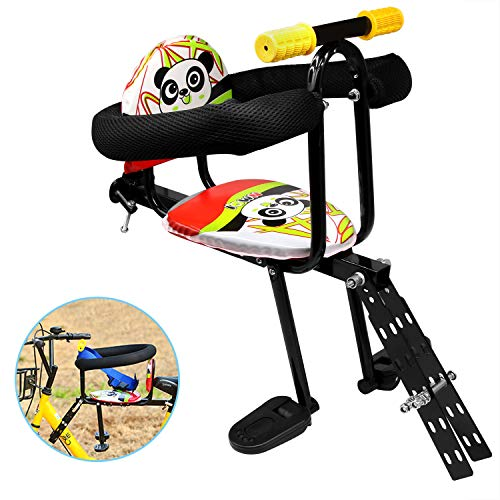 (Together-life Front Mounted Child Bicycle Seat with Handrail and Pedal Bike Kids' Safety Seats Front Seat Saddle Cushion)