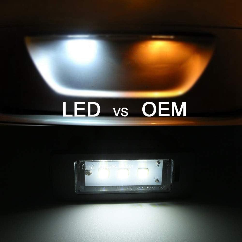 GemPro 2Pcs LED License Plate Light Lamp Assembly for BMW 1 3 5 Series E82 E88 E90 E91 E92 E93 E39 E60 E61 X1 X3 X5 X6 Powered by 3SMD Xenon White Error Free LED lights