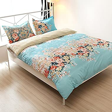 Vaulia Lightweight Cotton Blend Duvet Cover Sets, Vintage Floral Pattern Design - Full/Queen Size