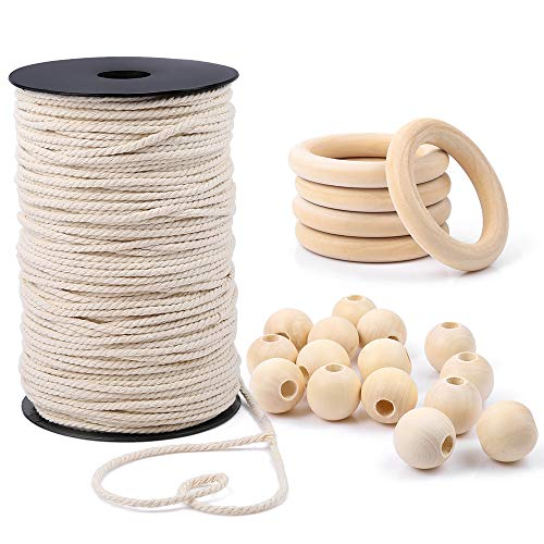(Sntieecr Macrame Wall Hanging Craft Kit with 3 mm 167 Yards / 150 m Natural Cotton Macrame Cord Rope, 15 Pieces Wood Beads and 5 Pieces Wood Rings Circles for)