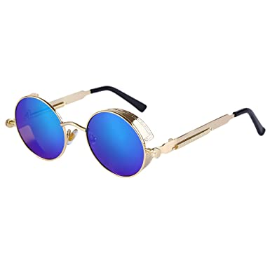Vintage Polarized Steampunk Sunglasses Round Mirrored Retro Sunglasses Beauty