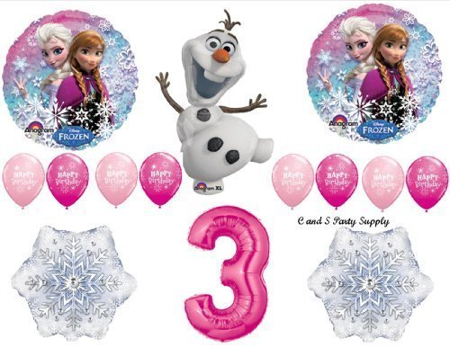 Frozen Pink 3rd Disney Movie Birthday Party Balloons Decorations Supplies by -