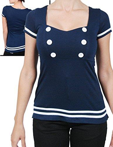 Rock-Steady-Sailor-Girl-Nautical-Button-Blue-Navy-Top-Vintage-Style-Retro