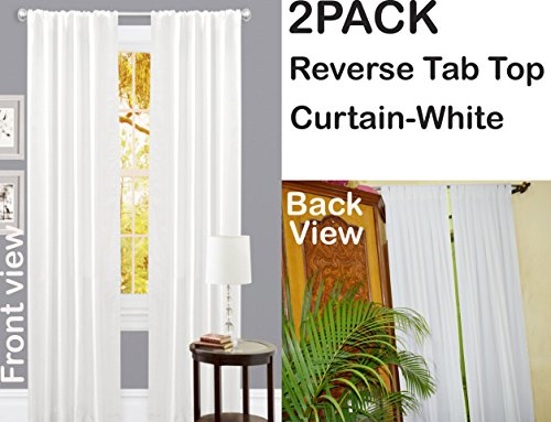 Set of 2 , 100% Slub Cotton Duck Curtain White, Cotton Duck Reverse Tab Top Window Panels - 50x84 inch (Curtain Tab Top)