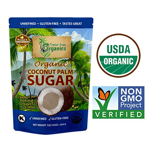 Organic Coconut Palm Sugar, Naturally Sweet Organic Pure & Unrefined Family Owned, 1 Pound