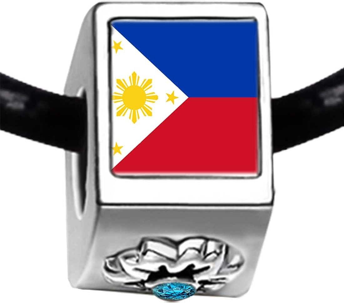 GiftJewelryShop Silver Plated Philippines Flag Photo Blue Zircon Crystal December Birthstone Flower Bead Charm Bracelets