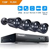 Home Security Camera System Outdoor Cameras Abowone 8 Channels 1080N CCTV DVR Recorder And 4 x 720P HD(1280TV line)IP66 Weatherproof Outdoor Bullet Security Surveillance Cameras