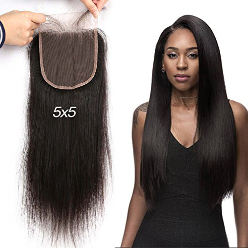 Greatremy 5×5 Lace Closure Straight with Baby Hair Brazilian Human Hair Free Part Natural Color 16″