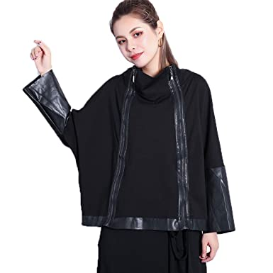 Ibexman Womens Fashion Short Sweater Double Zippers Leather Sleeves