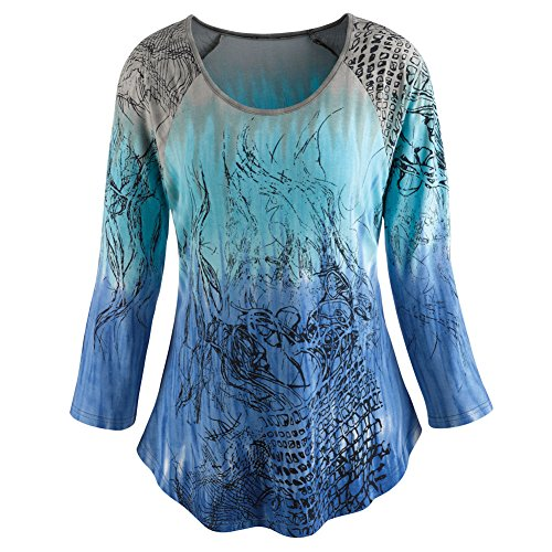 Women's Tunic Top - Aurora Lights Blue Green Ombre Print - 1X