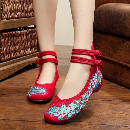 casual tendón zapatos Red cómodo aumento lenguado dentro Zapatos WXT femenina de tela estilo étnico del moda bordados del q0ITTwO