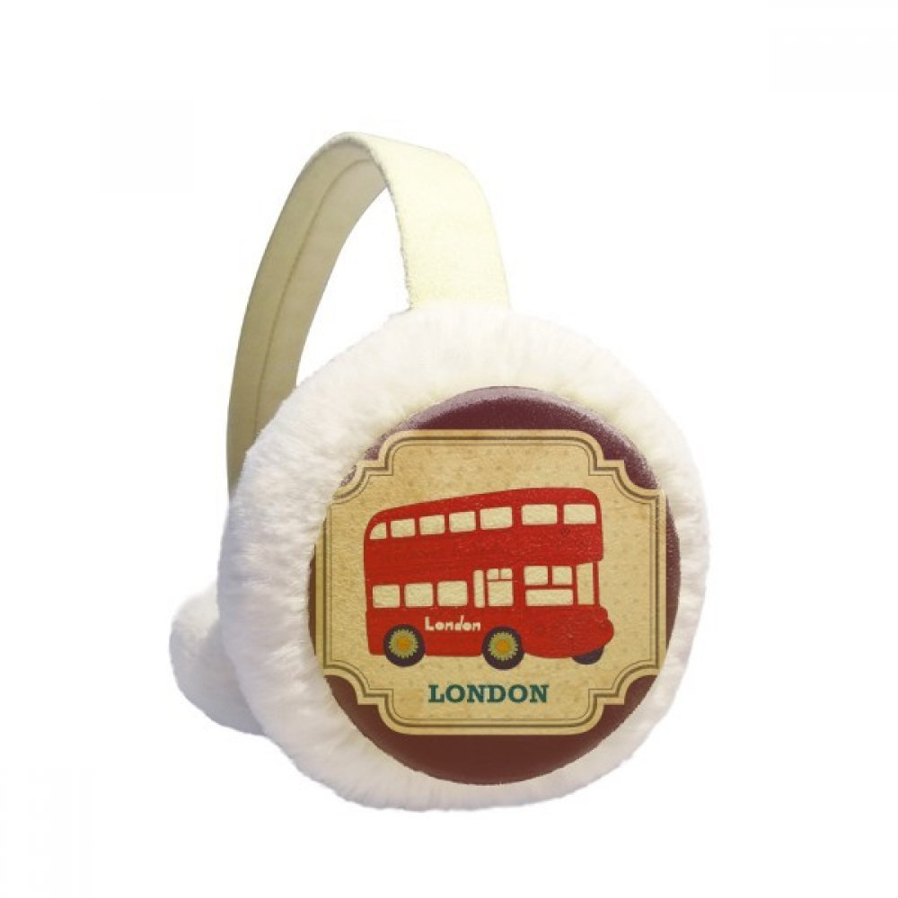UK London Double-decker Bus Stamp Winter Earmuffs Ear Warmers Faux Fur Foldable Plush Outdoor Gift