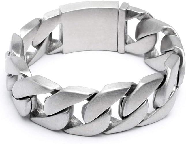 Schmuck Checker Armkette Massives XL Edelstahl Herren Armband Panzerkette Panzerarmband Silber gebürstet matt schwer breit dick hochwertig