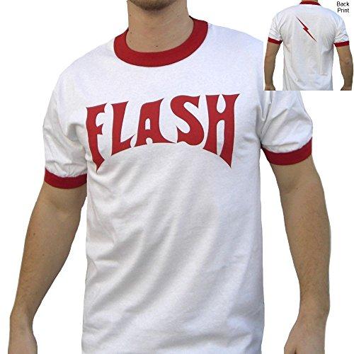 Flash Gordon White Ringer Adult T-Shirt Movie Costume Lightning Bolt Ted 80s