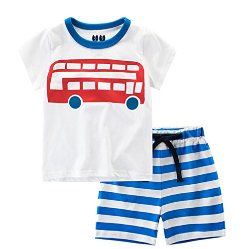 Evelin LEE Baby Boy Cotton Short Sleeve Shirt and Shorts 2pcs Set Clothes (24-36 months, Red Car)