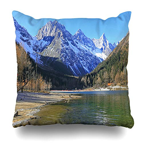 (Ahawoso Throw Pillow Covers Peak Blue Canyon Snow Mountains Forest Plateau Late Autumn Nature Aba Green Climb Earthquake Four Home Decor Zippered Pillowcase Square Size 20 x 20 Inches Cushion Case)