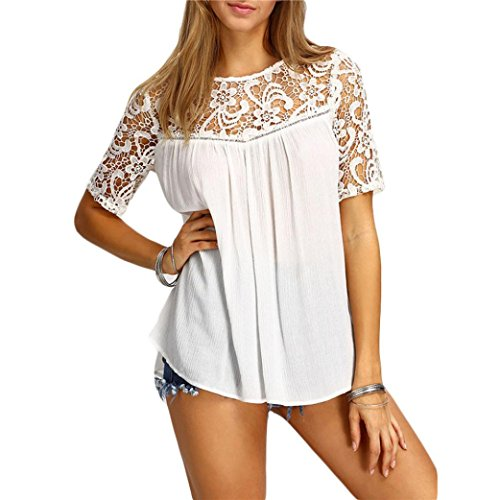Summer Tops,AIMTOPPY Sexy Women Summer Tops Lace Hollow Solid Short Sleeve Blouse Tank T-Shirt (M, - Polo Ralph Email Lauren