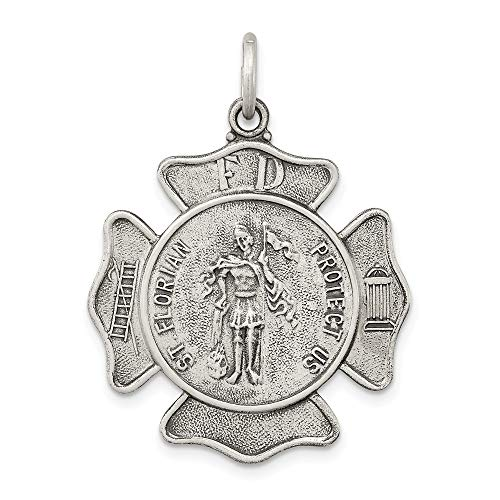 - 925 Sterling Silver Saint Florian Badge Medal Pendant Charm Necklace Religious Patron St Fine Jewelry Gifts For Women For Her