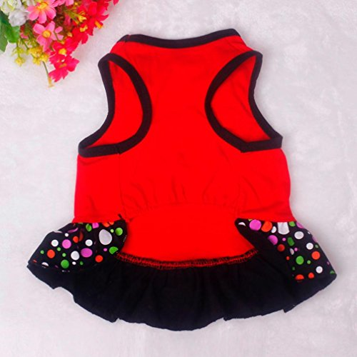 Picture of Voberry Small Dog Dress Fashion Pet Dog T-Shirt Dress Dog Cat Cute Summer Vest Skirt (M, Red)