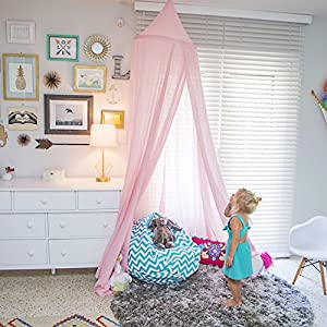 Zeke and Zoey Hanging Princess Pink Bed Canopy, Drapes - Hideaway Tent Canopies for Girls, Kids Rooms, Beds or Cribs. Nursery Decoration- Pink, Sheer, Long, Flowing - for Child, Play, Sleep, Reading