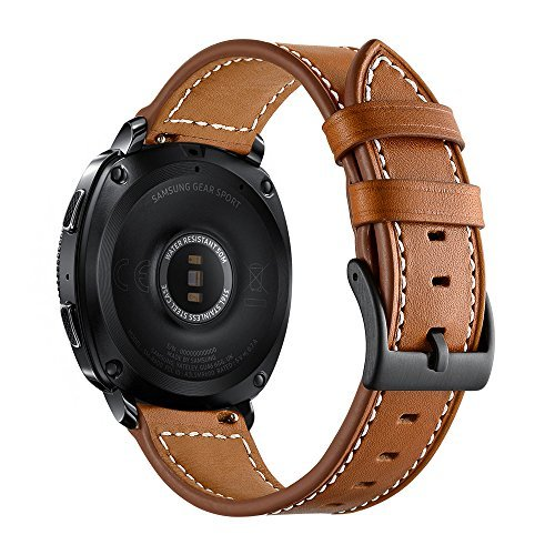 Aottom 20MM Samsung Gear Sport Band Leather Replacement Band Wrist Bands Metal Buckle Bracelet Wristband for Samsung Gear Sport/S2 Classic/Moto 360 2nd Gen (Mens 42mm 2015 Version) - ()