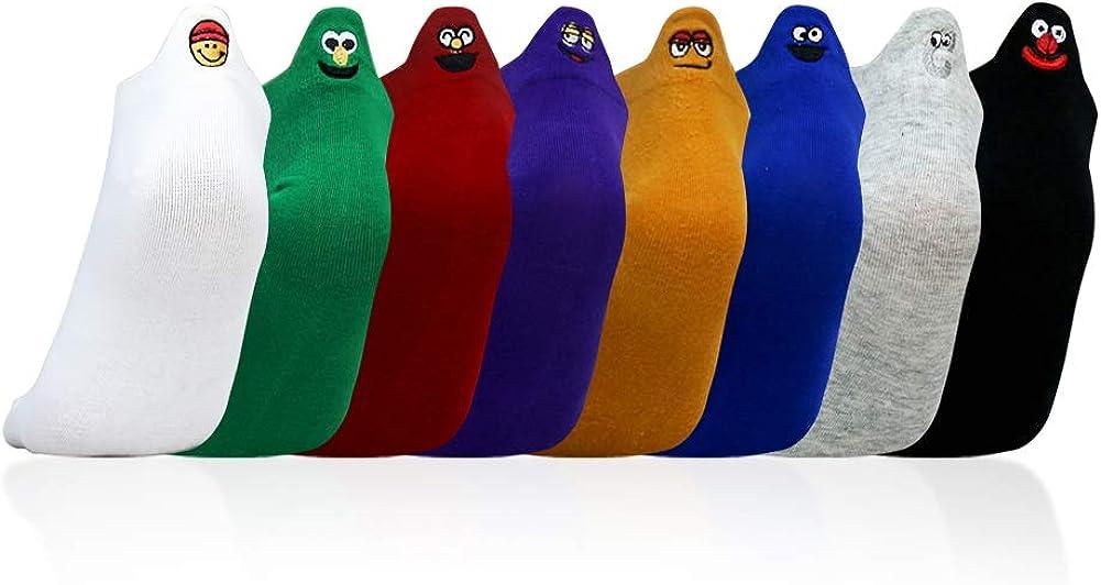 Ozzptuu 8Pairs Embroidered Cartoon Women Socks Expressions Low Cut Socks for Women Men Ankle Socks
