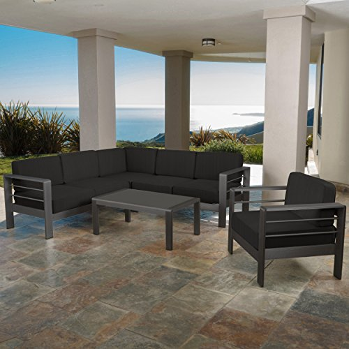 Coral Bay Outdoor Grey Aluminum 5 Piece V-Shape Sectional Sofa Set with Club Chair Aluminum 5 Piece Club Chair