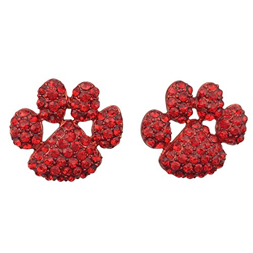 (Gypsy Jewels Paw Print School Spirit Mascot Rhinestone Stud Post Earrings - Assorted Colors (Red))