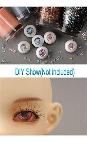 12mm BJD DIY blank acrylic eyes half ball with black pupils 1 Pair