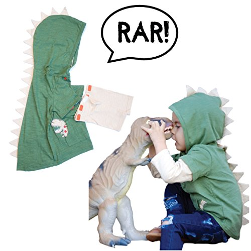 [Green T-Rex Dinosaur Toddler Hoodie / Jacket with Removable Sleeves for Infant Toddlers Boys Girls Unisex by Mini Jiji (Green 12-18] (Trex Baby Costumes)
