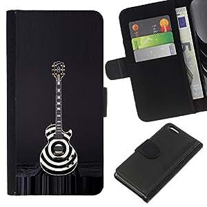 For Apple Iphone 5C Case , Black White Art Rock Music - la tarjeta de Crédito Slots PU Funda de cuero Monedero caso cubierta de piel