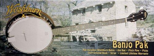 Washburn Banjo Starter Kit (Gig bag, Strap, Picks, Pitch Pipe)