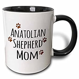 "3dRose 154058_4""Anatolian Shepherd Dog Mom by breed-muddy brown paw prints-doggy mama love Ceramic Mug, 11 oz, Black/White 25"