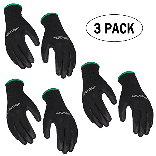 [3-Pack] ILM Safety Work Gloves Ultimate Grip For Garden Fishing Electrician Automotive Kids Women Men (XXL, (Ultimate Garden Tool)