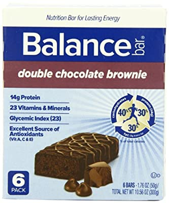 Balance Bar Double Chocolate Brownie - 6 Protein Bars - Net Wt 10.56 Oz