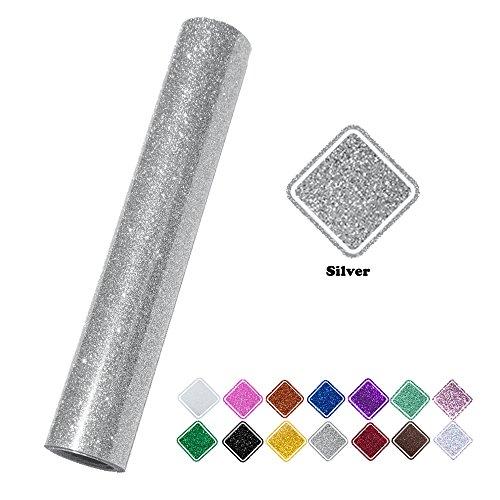 VINYL FROG 9.8x60(0.8x5ft) PU Glitter Heat Transfer Vinyl(Silver by VINYL FROG