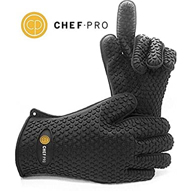 Chef-Pro Silicone Gloves Heat Resistant Grilling BBQ Gloves for Cooking, Baking, Smoking & Potholder, Insulated, waterproof protection for your hands, five fingered silicone oven glove kitchen mitts