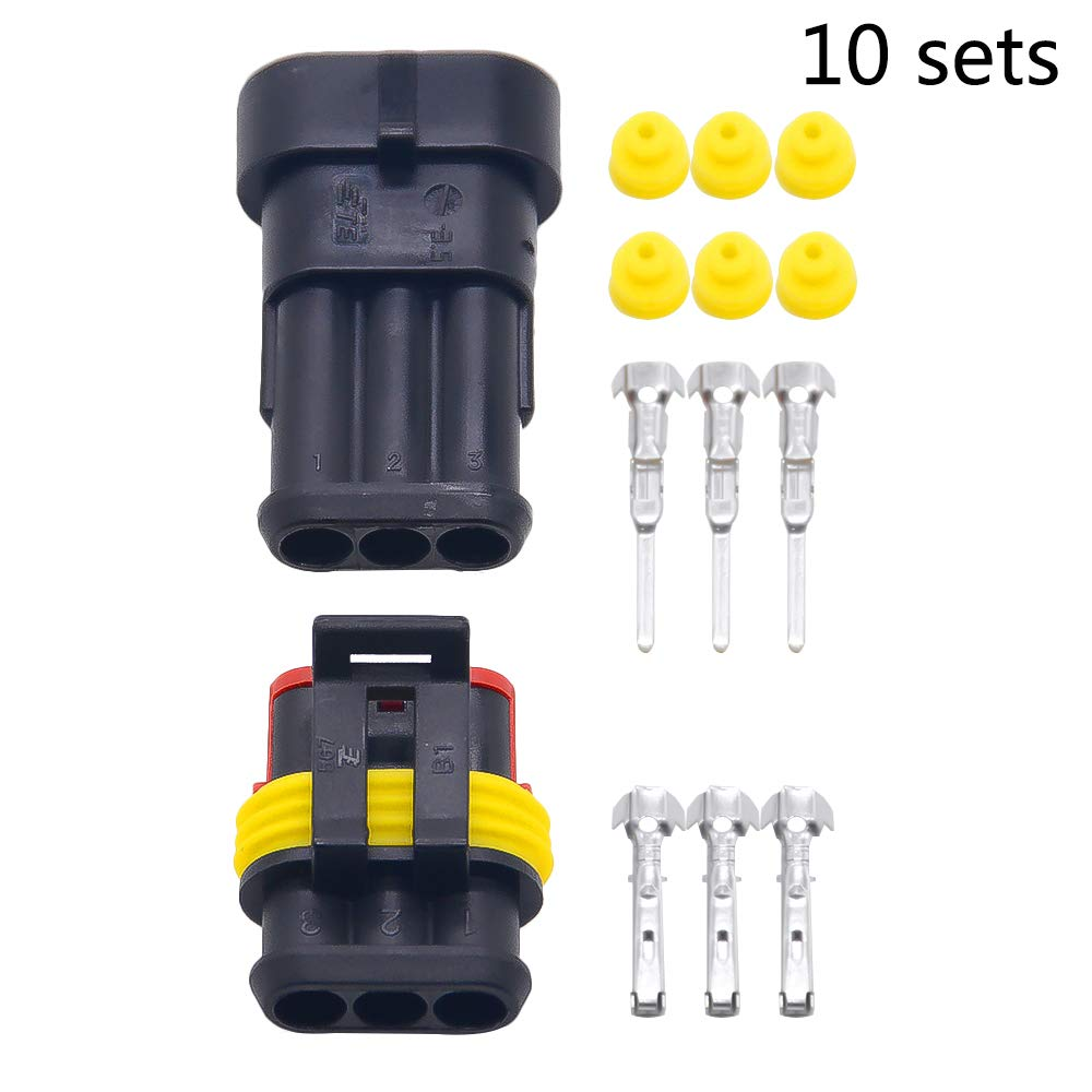 10 sets Kit 3 Pin Way AMP Super seal Waterproof Electrical Wire Connector Plug for car