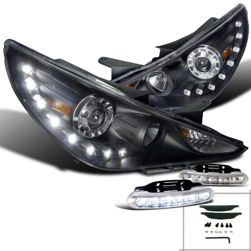 Hyundai Sonata Black SMD LED DRL Projector Headlights+Bumper LED Fog Lamps (Back Bumper For Hyundai Sonata compare prices)