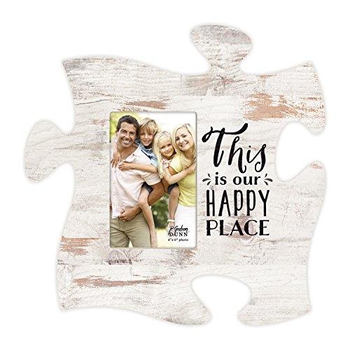 P. Graham Dunn This is Our Happy Place White Distressed Wood Look 4 x 6 Wood Puzzle Wall Plaque Photo Frame -