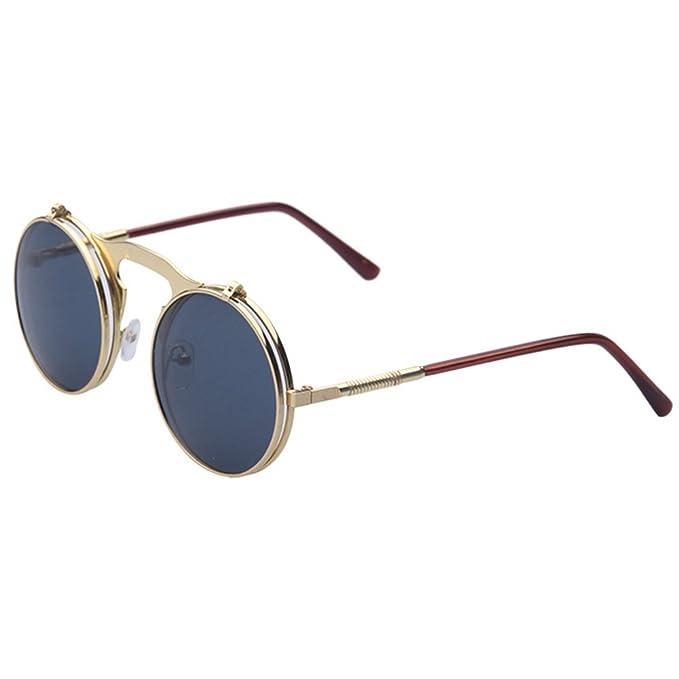 Leopard Hot Steampunk Goth Brillen Gläser Retro Flip Up Rund Sonnenbrille Vintage Schwarz GSXCwnFaRX