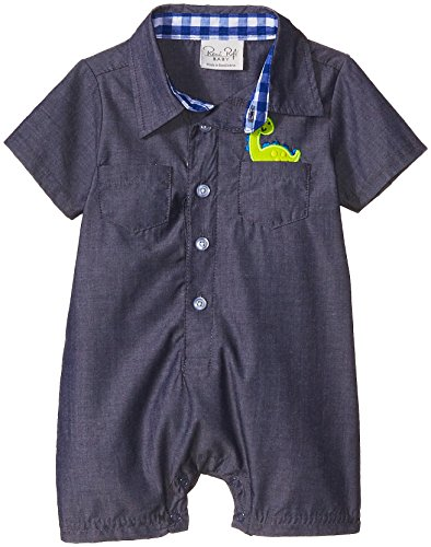 Rene Rofe Baby Baby Boys' 1 Piece Woven Collared Button Front Romper, Navy Blue Dino, 6-9 Months