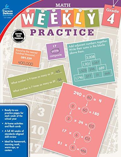 Carson-Dellosa Weekly Practice: Math Workbook, Grade 4