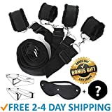 Litech Adjustable Strap Tie Set Kit for Bed with Soft Ankle and Wrist Handcuffs for Women and Men Restraints (Black)